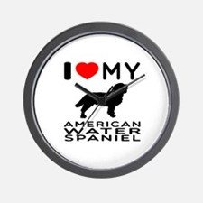 I Love My American Water Spaniel Wall Clock