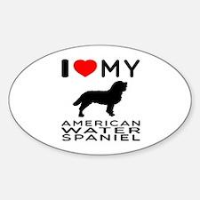 I Love My American Water Spaniel Sticker (Oval)