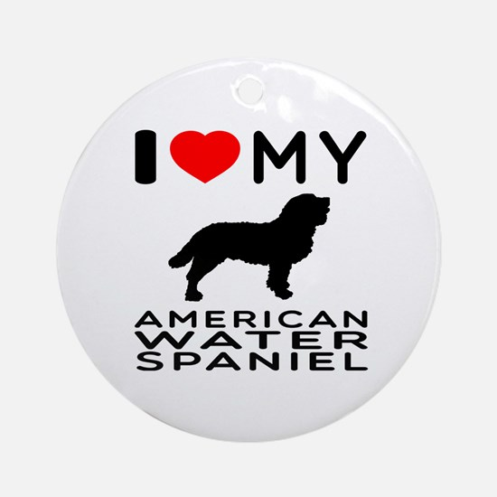 I Love My American Water Spaniel Ornament (Round)