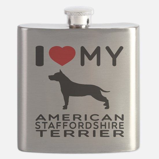 I Love My American Staffordshire Terrier Flask