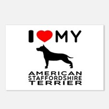 I Love My American Staffordshire Terrier Postcards