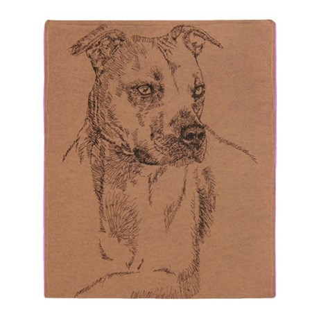 Pit_Bull_Terrier_KlineSq Throw Blanket