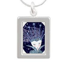Snow Queen Oval Necklace Silver Portrait Necklace
