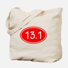 Red 13.1 Oval Tote Bag