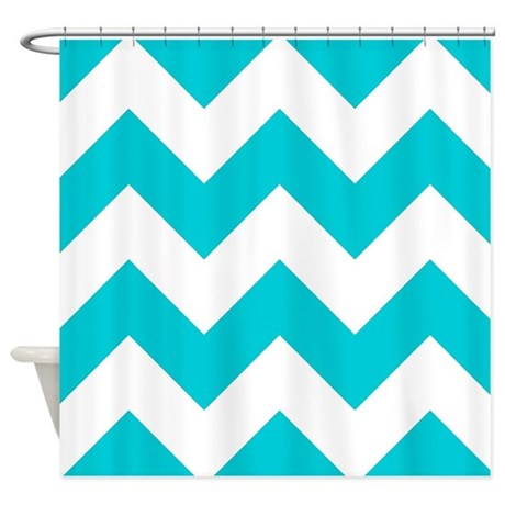 Aqua Chevron Pattern Shower Curtain By GraphicAllusions
