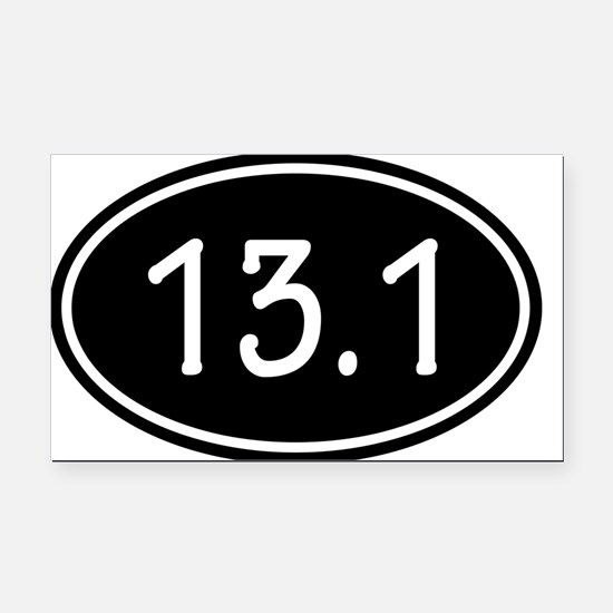 Black 13.1 Oval Rectangle Car Magnet