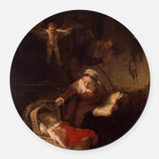 Holy Family with Angels Round Car Magnet