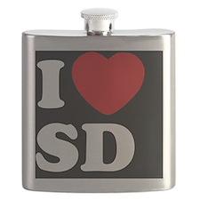 I Heart SD blackt Flask