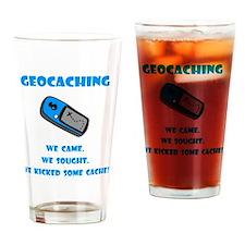 Geocaching Kick Cache Blue Drinking Glass