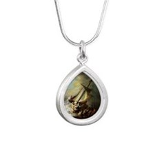 Storm on the Sea of Gali Silver Teardrop Necklace