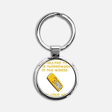 GeoCache Tupperware Yellow Round Keychain