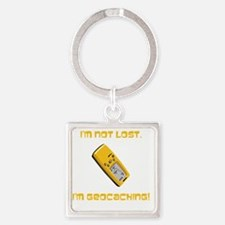 Not Lost Geocaching Yellow Square Keychain