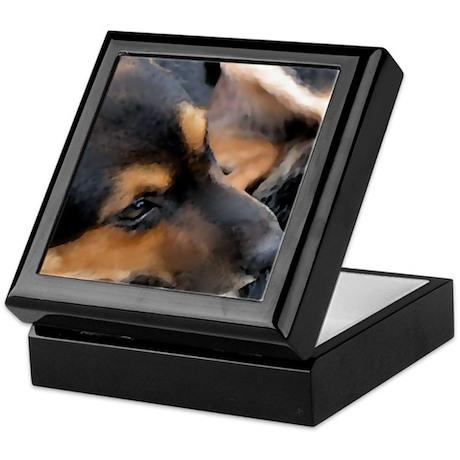 Curled Up Cattle Dog Keepsake Box