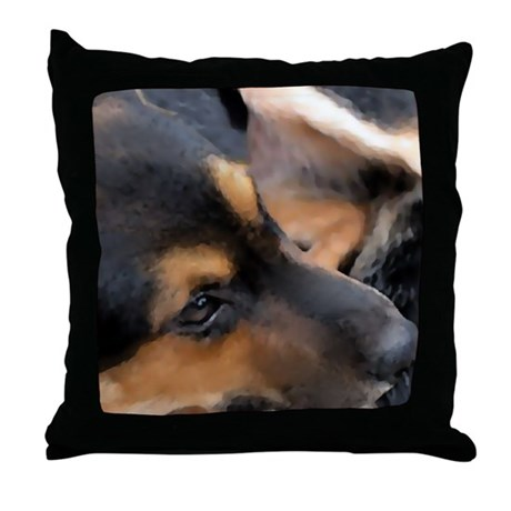 Curled Up Cattle Dog Throw Pillow