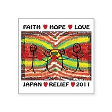 "Japan Relief 2011 Square Sticker 3"" x 3"""