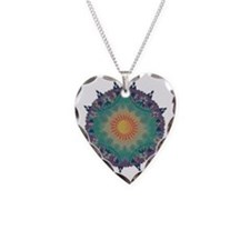 Pointy Lace sun Necklace Heart Charm