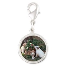 Smelling the Flowers 4 Silver Round Charm