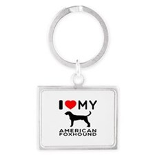 I Love My American Foxhound Landscape Keychain