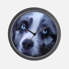 Cute Australian shepherd art Wall Clock