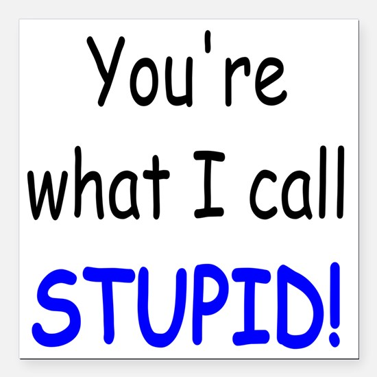 "what i call stupid Square Car Magnet 3"" x 3"""