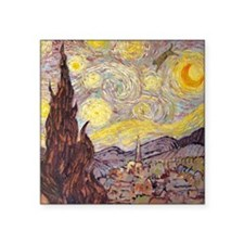 """Vincent in Starry Night Square Sticker 3"""" x 3"""""""