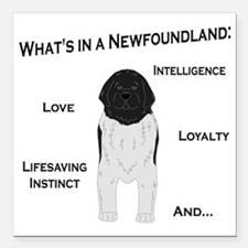"""Whats in a Newf - Landse Square Car Magnet 3"""" x 3"""""""
