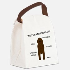 Whats in a Newf - Brown Canvas Lunch Bag