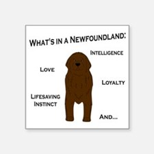 "Whats in a Newf - Brown Square Sticker 3"" x 3"""