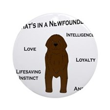 Whats in a Newf - Brown Round Ornament