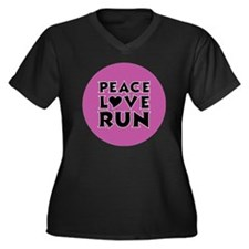 peace love r Women's Plus Size Dark V-Neck T-Shirt