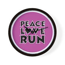 peace love run Wall Clock