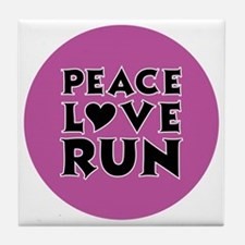 peace love run Tile Coaster