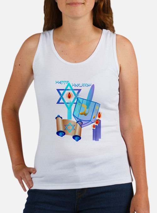 Blue Glass Dreidel-Happy Hanukkah Tank Top