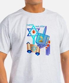 Blue Glass Dreidel-Happy Hanukkah T-Shirt