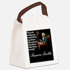 benjamin-franklin-quote-portrait Canvas Lunch Bag