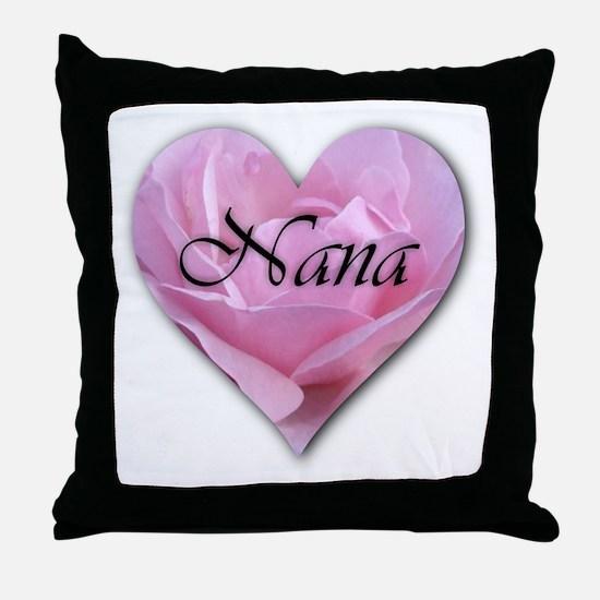 Nana Pink Rose Heart Throw Pillow