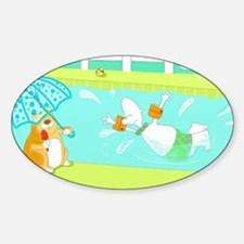 swimming birthday Sticker (Oval)