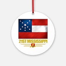 21st Mississippi Infantry (Flag 10) Round Ornament