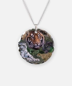 ip001528catsbig cats3333 Necklace Circle Charm
