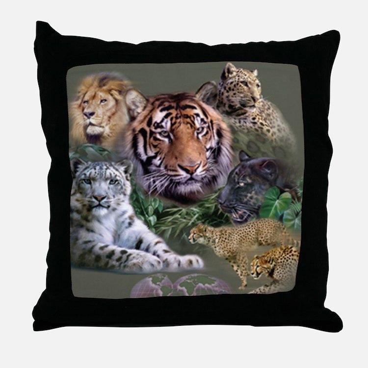 ip001528catsbig cats3333 Throw Pillow