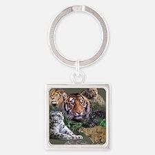 ip001528catsbig cats3333 Square Keychain
