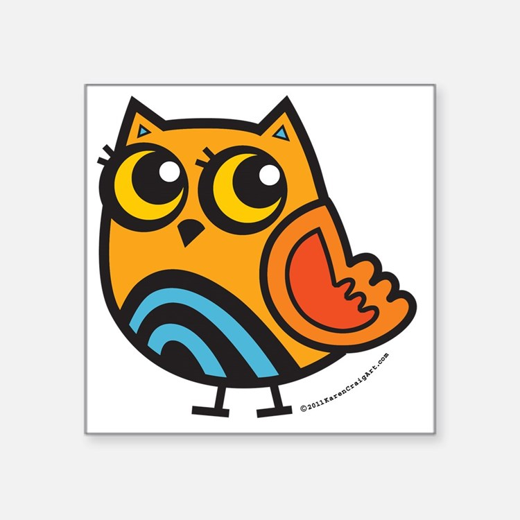 "Colorful Owl Square Sticker 3"" x 3"""