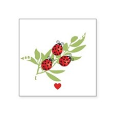 """Lucky Bugs on Leaf Japan 2 Square Sticker 3"""" x 3"""""""