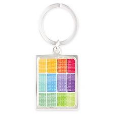 times table multiplication rainb Portrait Keychain