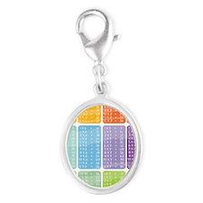 times table multiplication rain Silver Oval Charm
