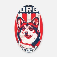 corgi_usa_white Oval Car Magnet