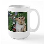 Collie Pup Smelling Flowers Large Mug