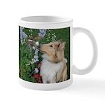 Collie Pup Smelling Flowers Mug