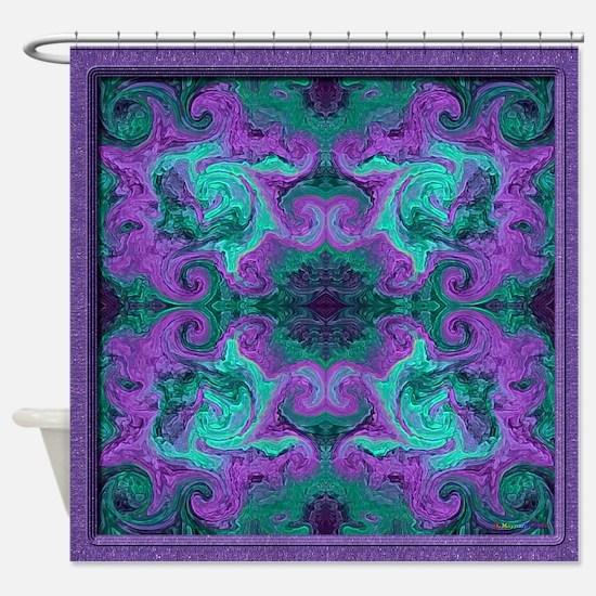 purple and teal shower curtain. 20020816 01Spiro v003 sig v01 7m Shower Curtain Purple Teal Curtains  CafePress