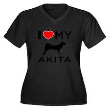 I Love My Akita Women's Plus Size V-Neck Dark T-Sh